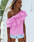 Womens one shoulder Sleeveless Casual Blouse Loose Tops T-Shirt