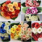 24 Head Artificial Silk Rose & Berry Bunch Large Leaves Assorted Colours