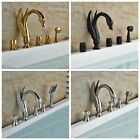 Bathroom Swan Shape Bathroom Faucet Tub Mixer Tap Handheld Shower Deck Mount Set