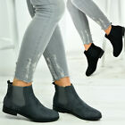 Womens Ladies Flat Low Heel Chelsea Ankle Boots Classic Comfy Shoes Size Uk 3-8