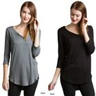 V Neck T Shirt Black Grey Half Sleeve Women Rayon Casual Yoga Gym Lux Top
