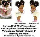 Ruffle Pants Ivory and Pink Afro Puff Baby EDIBLE Cake Image Baby Sneakers Cake