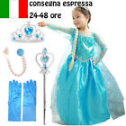 CARNEVALE COSTUME FROZEN dress bambina ELSA VESTITO BIMBA new 808 +ACCESSORI