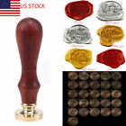 US Wooden Vintage Handle Wax Seal Spoon Stamp Letter Alphabet Invitation Gift