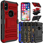 For Apple iPhone X Shockproof Hybrid With Kickstand Holster Belt Clip Case Cover