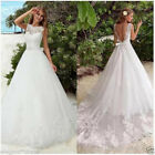 White/Ivory A Line Wedding Dreses Backless Formal Bridal Gown Custom size2 4 6++