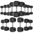 Hex Dumbbells Rubber Coated Set of 2 Dumbbell Set Pairs Training Weight Black
