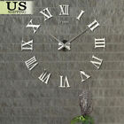 Large Size Wall Clock 3d Sticker Mirror Big Watch Diy Home Decor Unique Gift