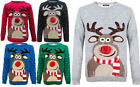 KIDS WOMENS MEN 3D POM POM RUDOLPH REINDEER XMAS CHRISTMAS UNISEX JUMPER SWEATER