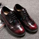 Retro Mens Brogue Lace Up Leather Casual Dress Formal Shoes Wingtip Oxford Boots