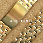 Gold Plated Stainless Steel Adjustable Metal Watch Strap Bracelet Band 20mm 22mm