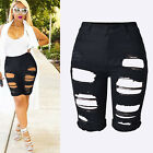 Womens High Waist Jeans Ripped Hole Washed Distressed Short Outdress Jeans US