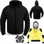 Motorcycle CE Armour 100% Kevlar Black Hoodie Removable Armour