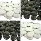 White Black Large Flat Glass Pebbles / Memorial / Display / Events / Fish Tanks