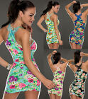Womens Floral Bodycon Mini Dress Applique Racer Back Stretchy Long Top 8 10