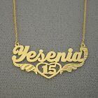 Solid 10k Gold Personalized Sweet 15 Name Necklace Jewelry Quinceanera Gift