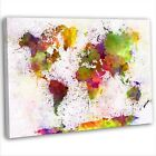 World Map Colourful Abstract Watercolour Canvas Print Framed Wall Art Picture