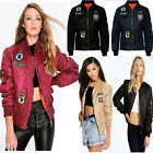 NEW WOMENS LADIES MA1 JACKETS COMBAT BADGE ARMY VINTAGE ZIP UP BIKER TOPS SIZE