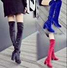 Winter Womens High Heels Soft Suede Show Zipper Over The Knee Thigh High Boots