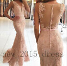 Blush Pink V Neck Mermaid Prom Dress Lace Formal Evening Gown Bridesmaid Dresses