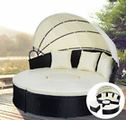 Patio Sofa Furniture Round Retractable Canopy Daybed Black Wicker Cushioned