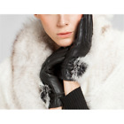 US-Women Warm Rabbit Fur Button Leather Sheepskin Cashmere Gloves