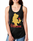 Beauty and the Beast Womens Sparkle Glitter Graphic Racerback Tank Top Shirt