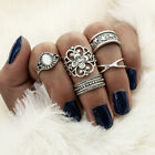 12Pcs/Set Vintage Silver Crystal Midi Finger Knuckle Rings Fashion Women Jewelry