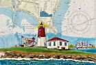 Point Judith Lighthouse Nautical Chart Art Print Coast Guard Sailor Gift Eagle