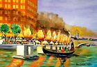 WATERFIRE ART PRINT Waterplace Park Providence Gondola Campfire RI Gift River