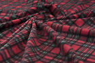 Antipill XMAS Red Tartan fleece fabric Warm blanket kilt scarf material BY METER