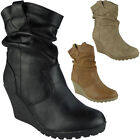 Womens Ankle Wedge Boots Ladies Mid Heel Casual Rouched Work Office Shoes Size