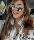 Sunglasses AVIATOR SILVER GOLD ROSE OVERSIZED Mirror Reflect