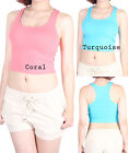 D2D Basic Layer-able Solid Round Halter Neck Contrast Belly Crop Knit Tank Top