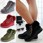 New Winter Style Flat Boots Faux Fur Lined Zip Casual Warm Lace Up Womens Shoes