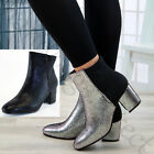 New Womens Ankle Boots Mid Block Heel Zip Glitter Casual Ladies Shoes Sizes 3-8