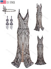 Strap V-neck High Slit Prom Maxi Dresses Evening gown Sexy 1920s Flapper Costume