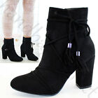 New Ankle Boots High Block Heel Zip Tassels Lace Up Casual Womens Ladies Shoes