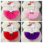 Gold Bow Baby Girls First 1st 2nd Birthday Tutu Outfits Set Christening Suits