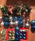 Lot 30 Christmas Decrations Ornaments Holiday Decor New Balls Faux Plants Xmas