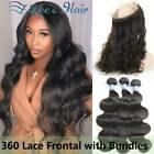 9A 360 Lace Frontal Closure with Bundles Brazilian Body Wave Human Virgin Hair