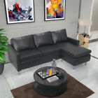 L Shaped Corner Sofa Grey Fabric Black Faux Leather 3 Seater With a Footstool