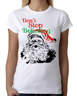 Junior's Don't Stop Believing Santa T Shirt Ugly Sweater Holiday Christmas B1150