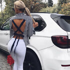 Fashion Summer Women Casual Long Sleeve Ladies Backless Shirt Loose Tops Blouse