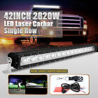 2820W 42inch Single Row nilight LED Light Bar laser Offroad Bracket For f150 DRL