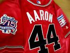 Brand New! Majestic RED Atlanta Braves #44 Hank Aaron Dual patch sewn Jersey men