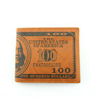 Novelty 100 Dollar Bill (USA) Style Wallet leather look Brown embossed Gift