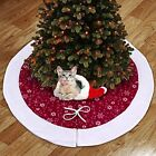 Tree Skirts 48 Inches White Snowflakes Christmas Red And Chrismas Decorations