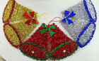 TINSEL TIME Christmas Small Tinsel Bell Decoration: Red, Gold or Silver