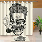 mustache shower curtain - Hipster Skull Silhouette With Mustache Bathroom Fabric Shower Curtain71Inches